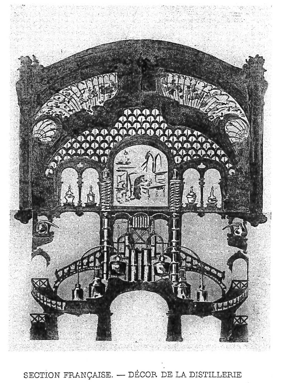 """Exposition Universelle 1900 - décor de la section """"distillerie"""" mis en scène par M. Courtois-Suffit"""