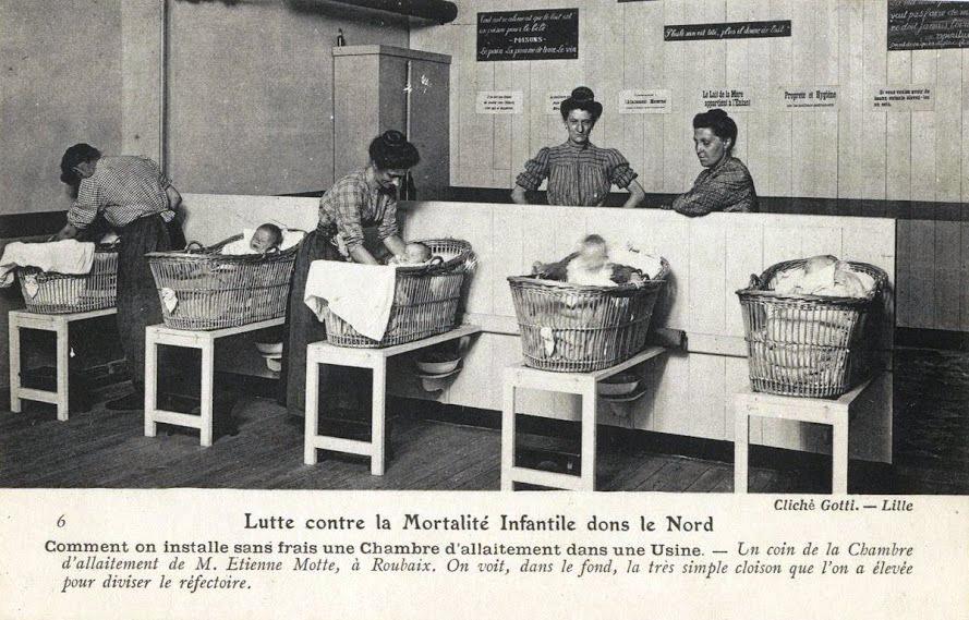 Bien de novatrice chez les Guillemaud et autres filatures de Seclin, la chambre d'allaitement fut installée aussi sur Roubaix