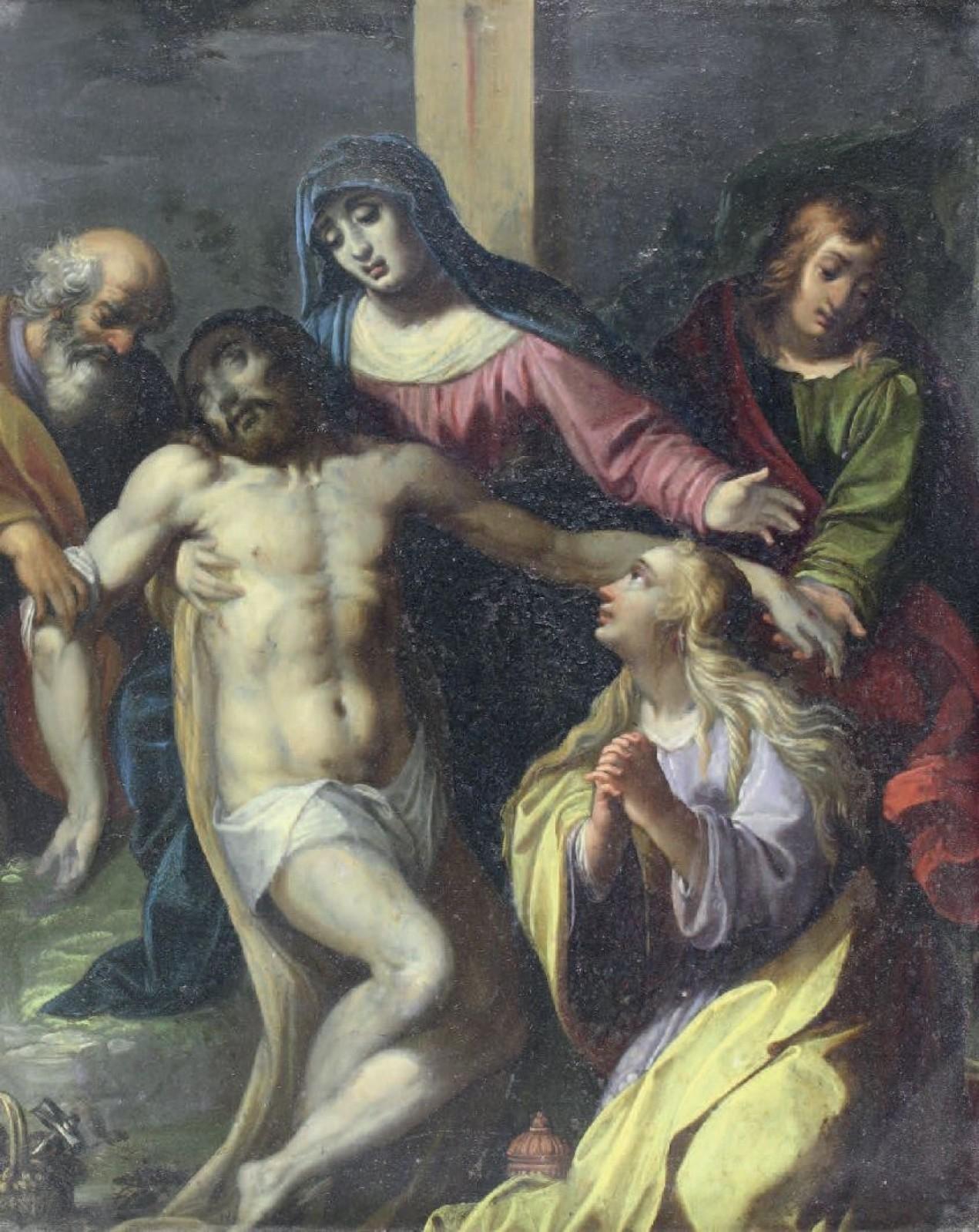 "Ecole flamande - ""La descente de croix"", 1620"