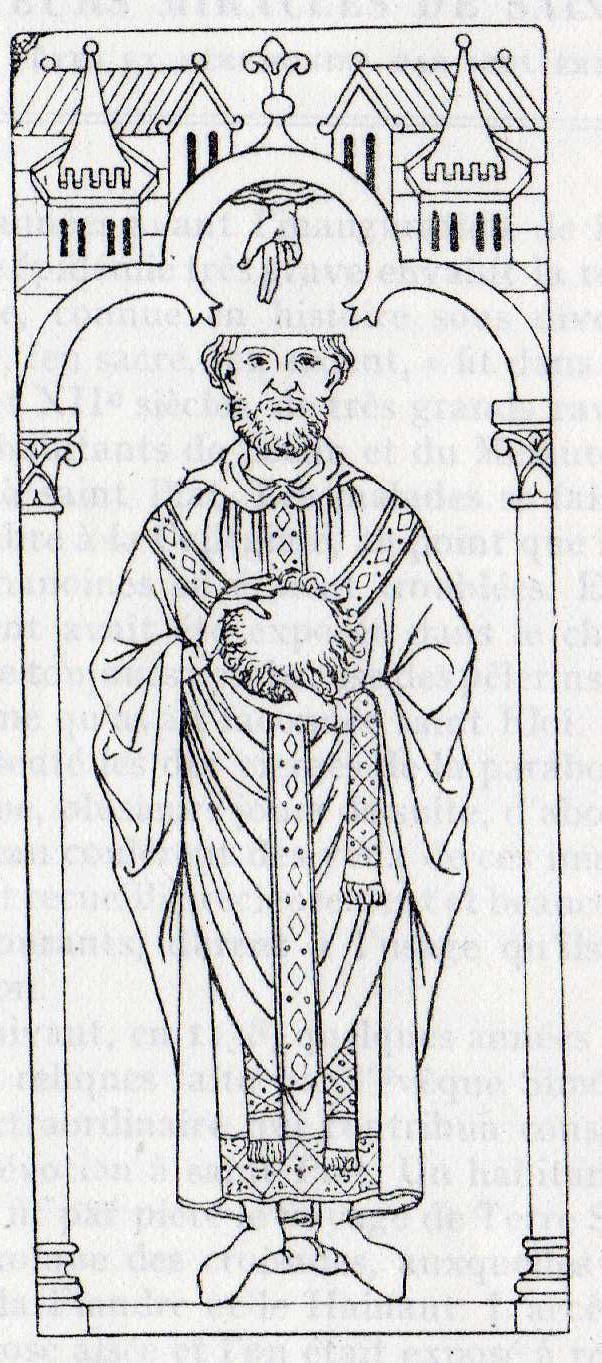 Relevé de la lame funéraire du tombeau de Saint Piat, crypte de Collégiale St Piat de Seclin (Nord)