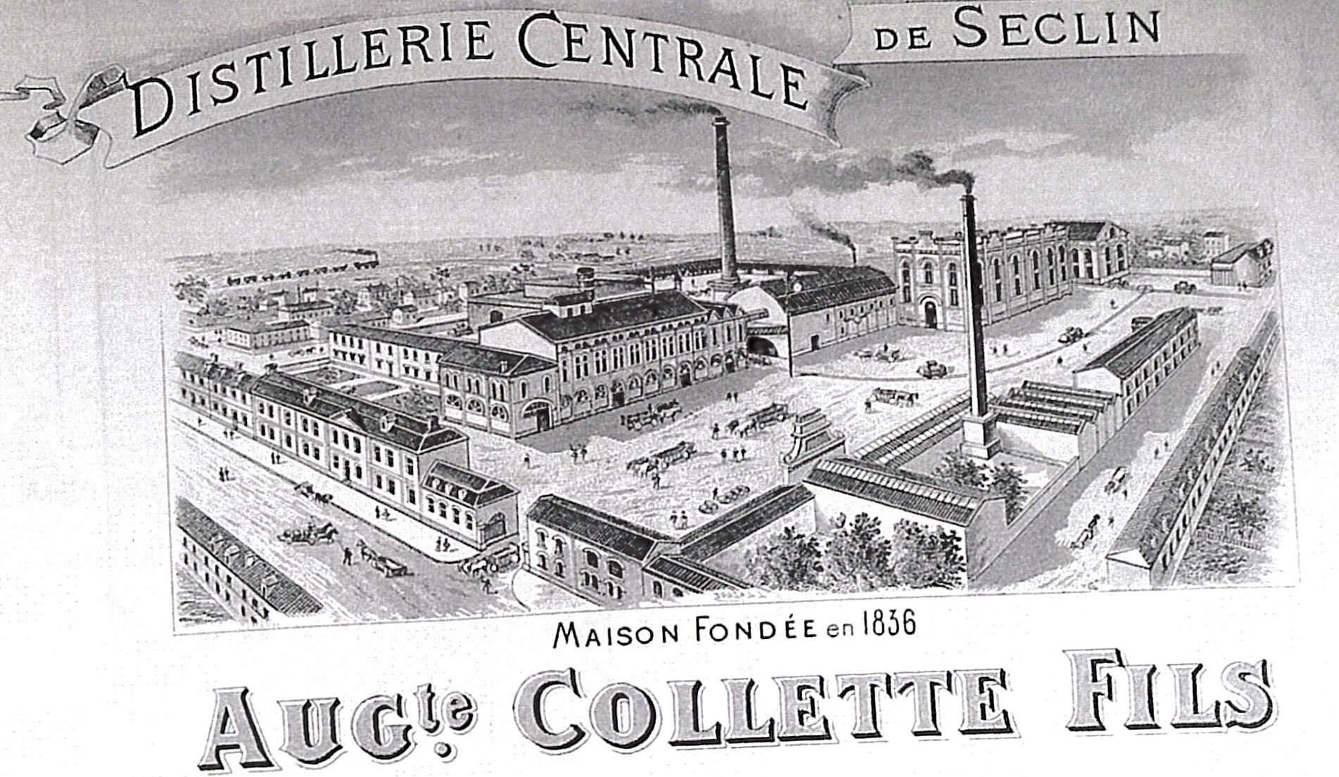 Entête figurant la distillerie Collette. Bien que très vaste, les figurations de l'usine comme celle du quartier du centre de Seclin sont peu forcées (source : livre Me Lerouge)