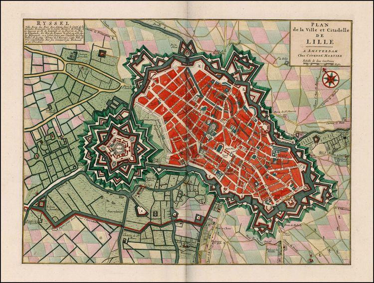 """Plan de Lille au XVIIIe siècle avec la """"Reine des Citadelles"""" de Vauban"""