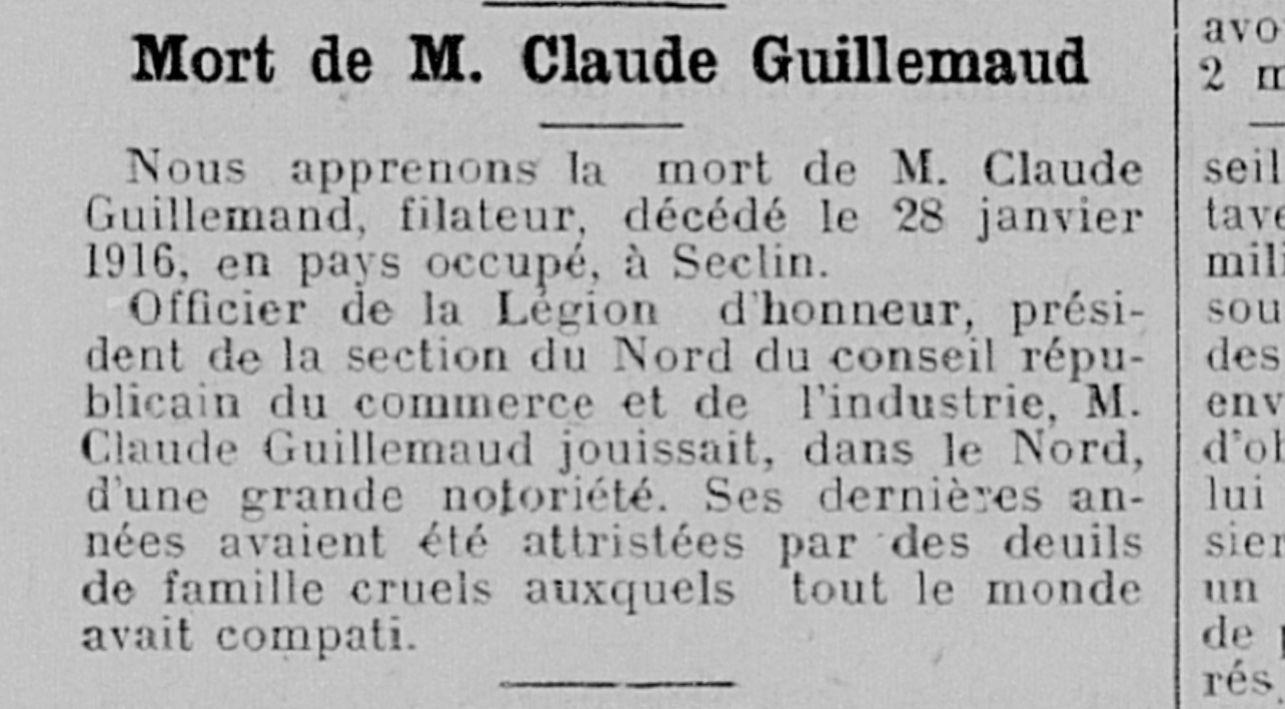 """Article nécrologique (""""Bulletin des réfugiés du Nord"""" - 20 Mars 1916)"""