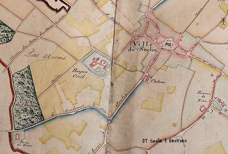 Plan de Seclin en 1822, un siècle après l'organisation de la ville n'avait pas variée