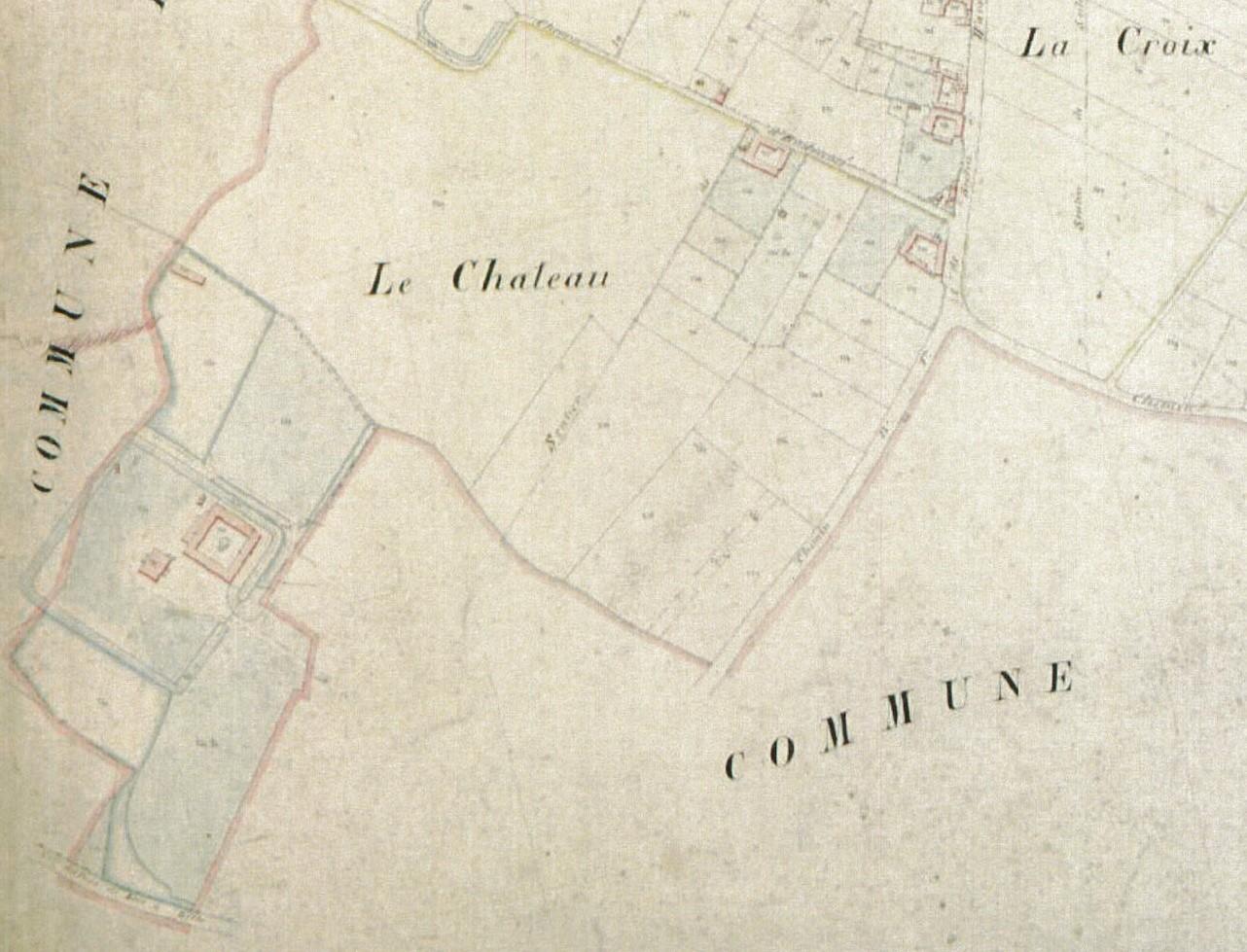 """Plan de 1857, """"le Château"""" en sortie d'Houplin vers Seclin - le canal n'est pas encore réalisé (ADN P31/230)"""