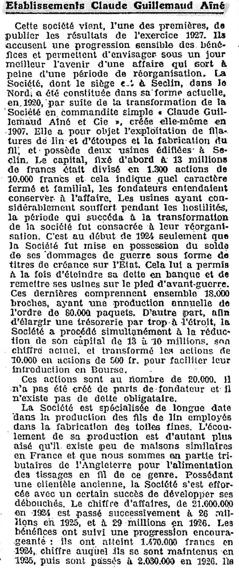 Journal des Finances - 2 Mars 1928 - première partie