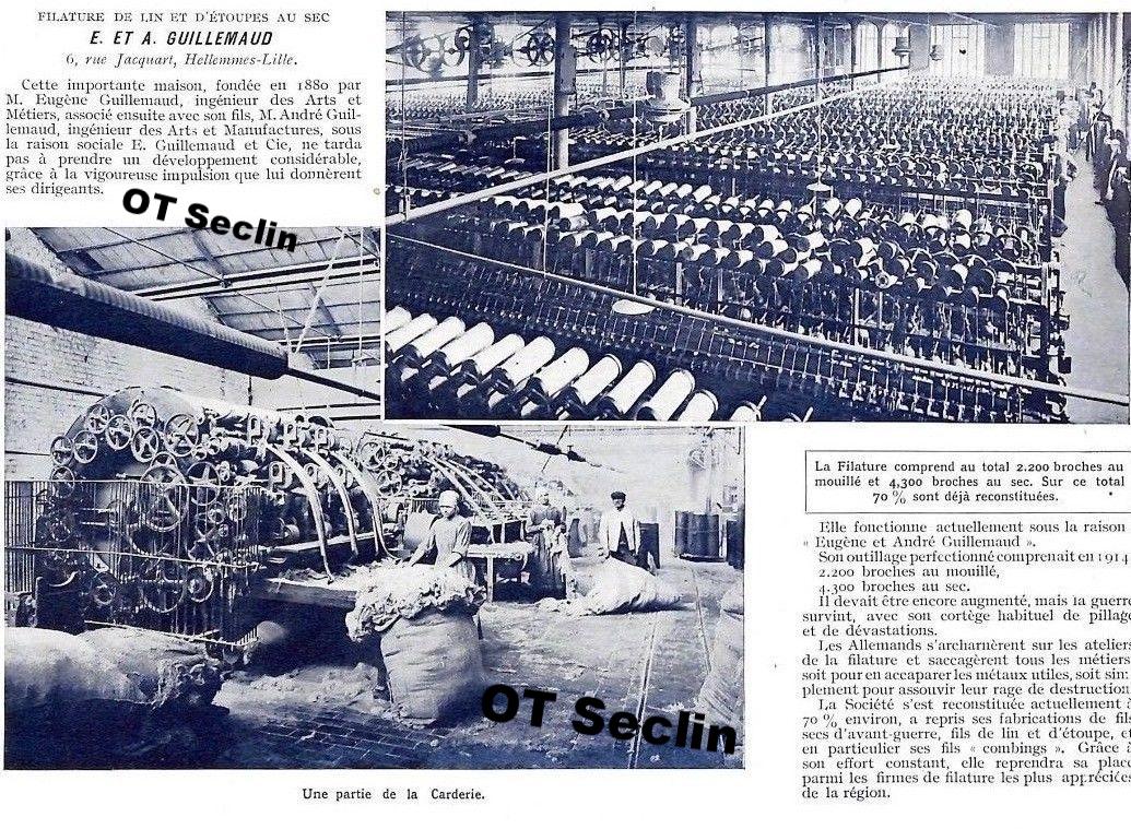 La filature Guillemaud de Hellemmes-lez-Seclin fondée par le benjamin, Benoit Eugène en 1880