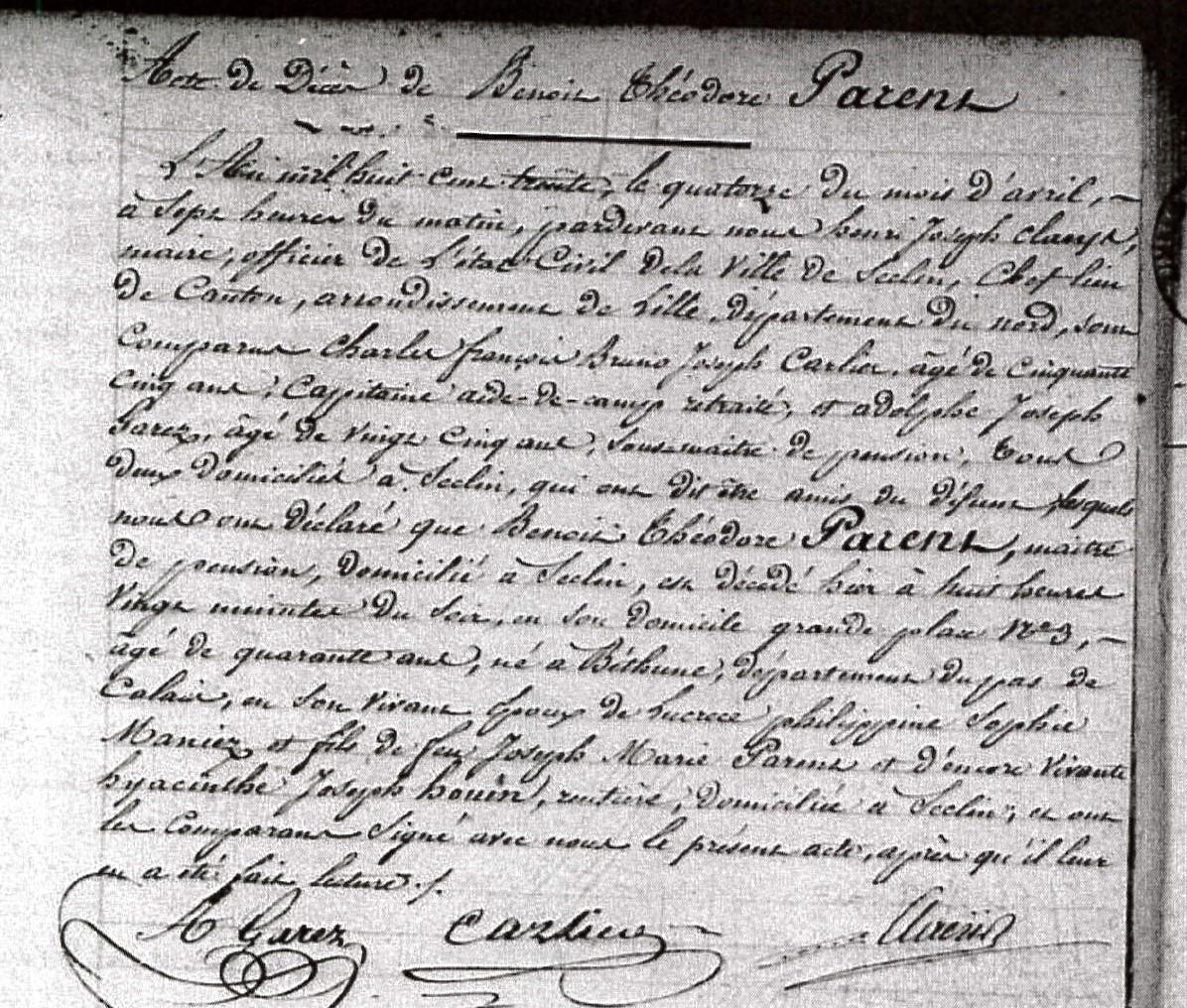 Etat-Civil de Seclin (ADN 1815-1832) - acte de décès de Benoit PARENT