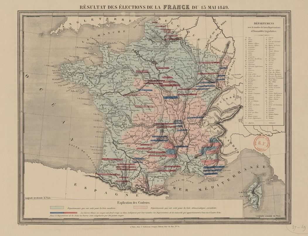 carte de France avec la répartition des votes aux élections législatives de Mai 1849