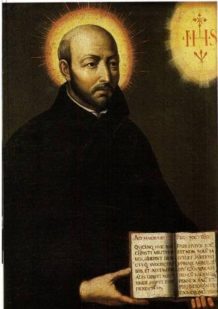 Portrait de Ignace de Loyola (1491-1556), fondateur de la Compagnie de Jésus (Les Jésuites), on y voit distinctement le monogramme IHS ainsi que les trois clous