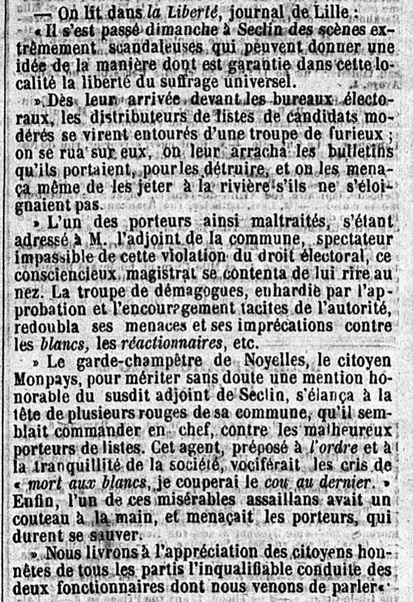Le Constitutionnel, journal du 18 Mai 1849... un peu plus précis sur le garde champêtre !