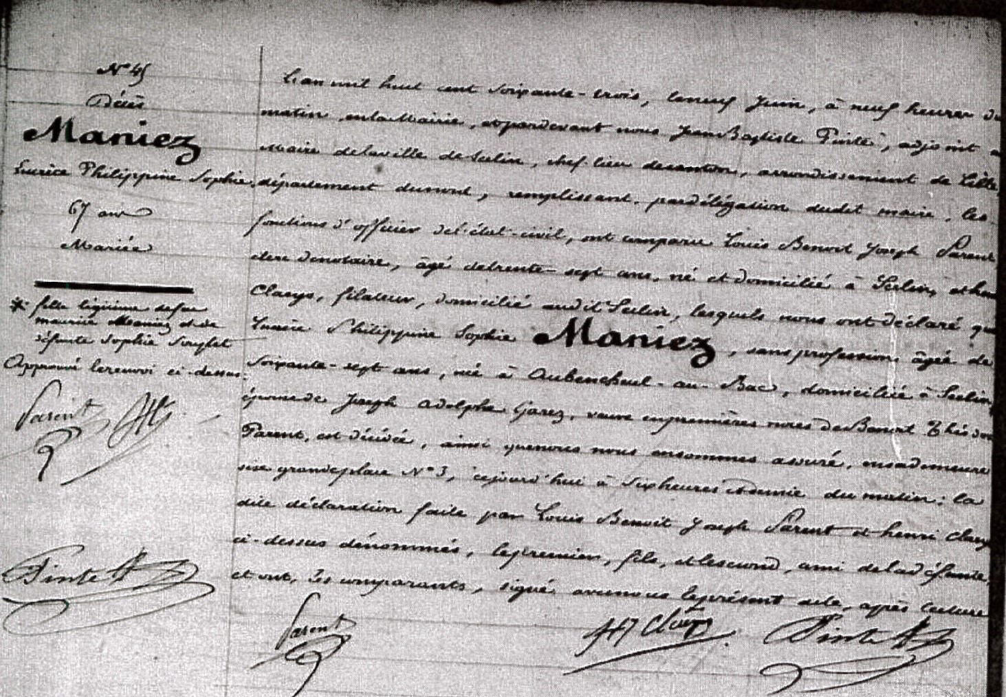 Etat-Civil de Seclin (ADN 1852-1879) - acte de décès de Lucrèce MANIEZ