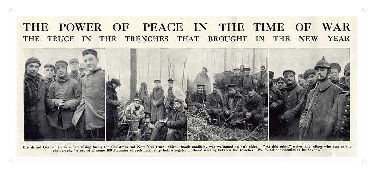 Clichés de ces fraternisations de la fin de l'année 1914 publiés dans 'The Graphic' au mois de Janvier 1915.