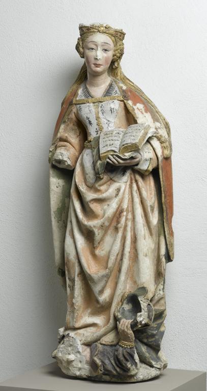 Sainte Catherine, collection Dept. Moyen Âge et Renaissance (XVIe siècle - calcaire avec polychromie - coll. Palais Beaux-Arts de Lille) - originellement une oeuvre exposée jusqu'en 1874 dans l'église Saint Martin de Noyelles-lez-Seclin.