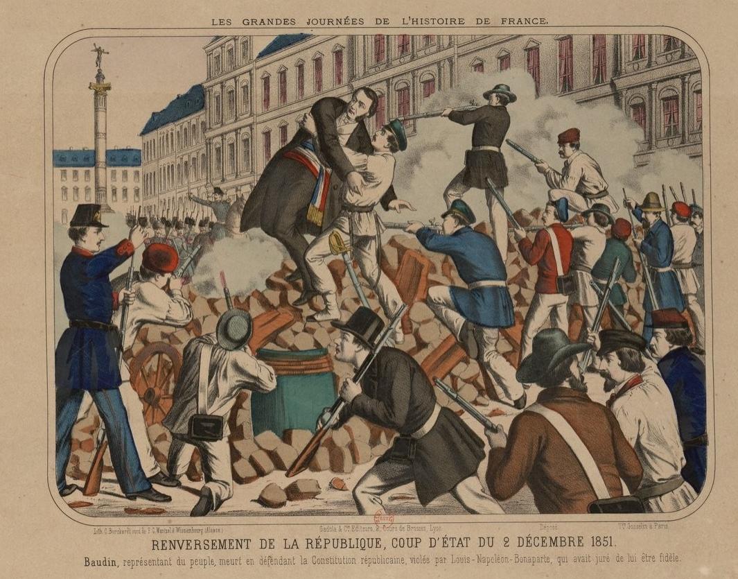 Le député Baudin tué sur les barricades à Paris lors du coup d'état du 2 Décembre 1851