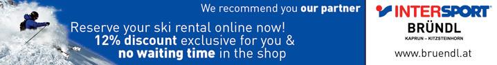 Reserve your ski rental online! 12% discount