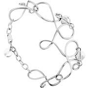 Bracelet Volutes en argent 925, perle de verre, transparent, 13.6g