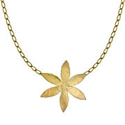Collier fleur martelée Herbier, dorure à l'or fin, XL
