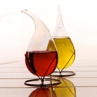 "Oil and vinegar bottles ""Alchimia"" - 2000 Iridescent blown glass and metal"