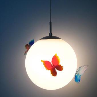 """Lampada """"Falene"""" - 2010 Globo di vetro di Murano e farfalle di vetro"""