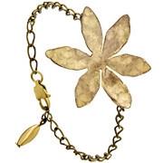 Bracelet chaîne fleur martelée Herbier, dorure à l'or fin