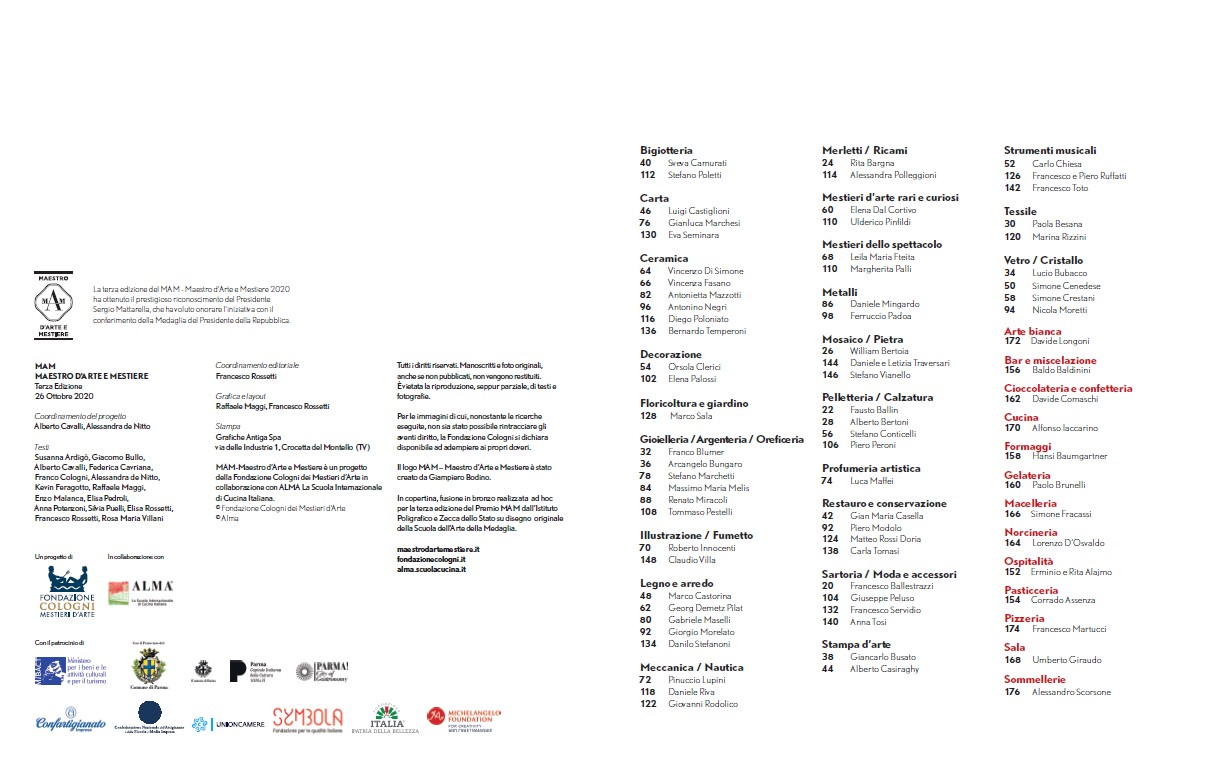 MAM-Maestro d'Arte e Mestiere 2020 awards