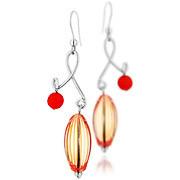 Boucles d'oreilles percées Volutes argent 925, Murano, rouges, 9.5g
