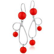 Boucles d'oreilles percées Volutes argent 925, p. de verre, rouges, 14.1g