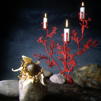 "Candle holder ""Corail"" - 1992 Metal and stained sand"