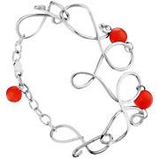 Bracelet Volutes en argent 925, perle de verre, rouge, 13.6g