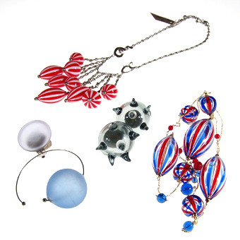 Blown Murano glass jewelry