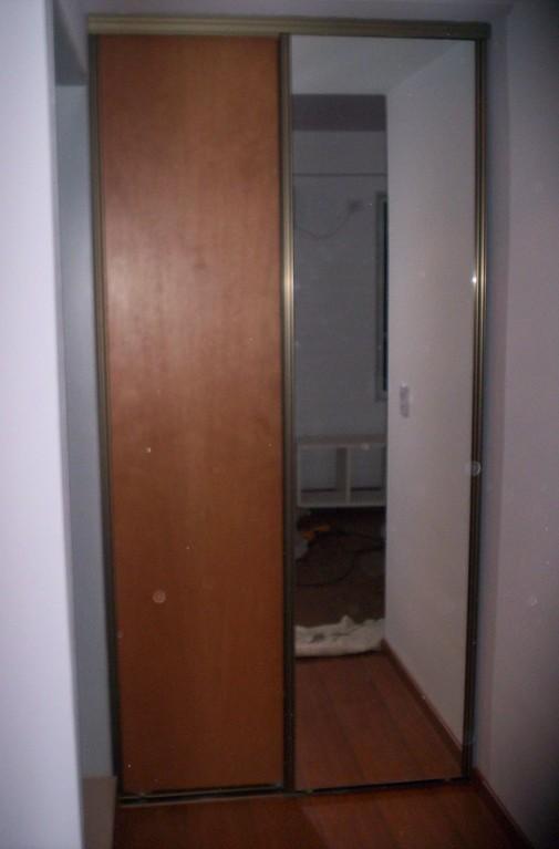 Frente de placard 1 puerta Nogal 1 espejo
