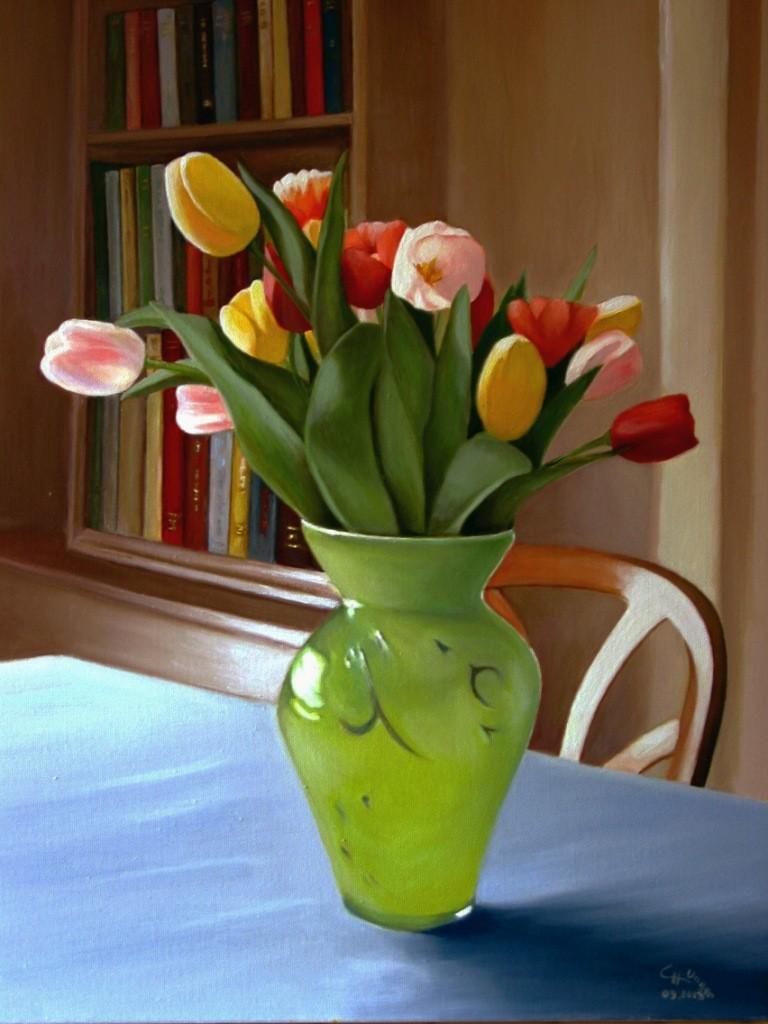 """Tulipes dans un vase vert"""