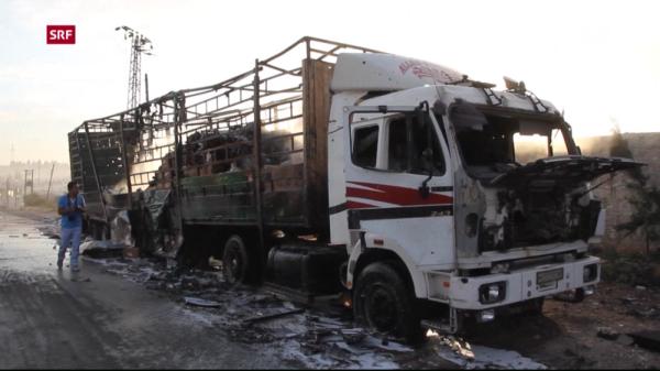 Ein LKW des zerstörten Hilfskonvois (SRF)