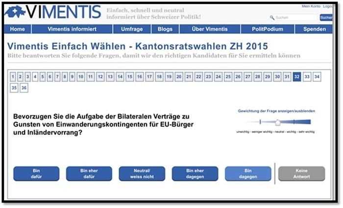 Bild: Angeblich «neutrale» Online-Wahlhilfe «Vimentis»