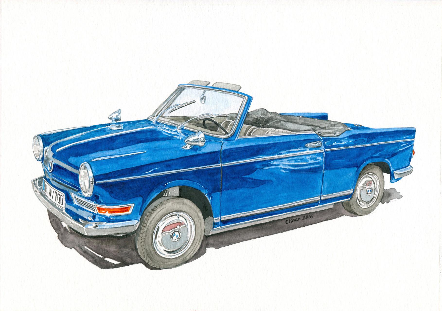 BMW 700, Aquarell auf Papier, 2016
