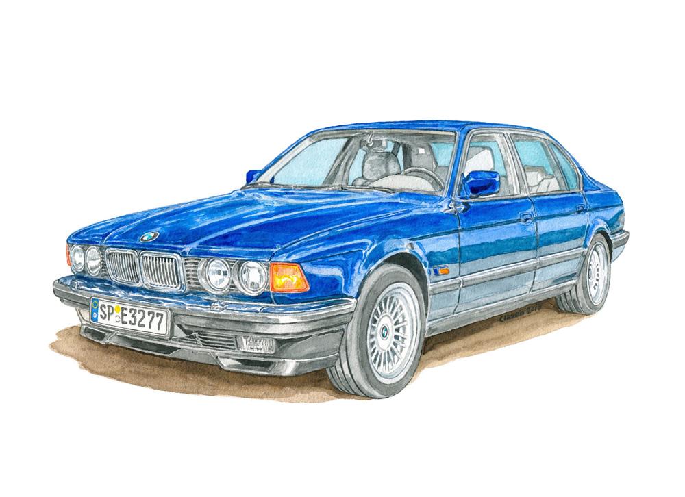 BMW 750 i 32e, Aquarell auf Papier, 2017