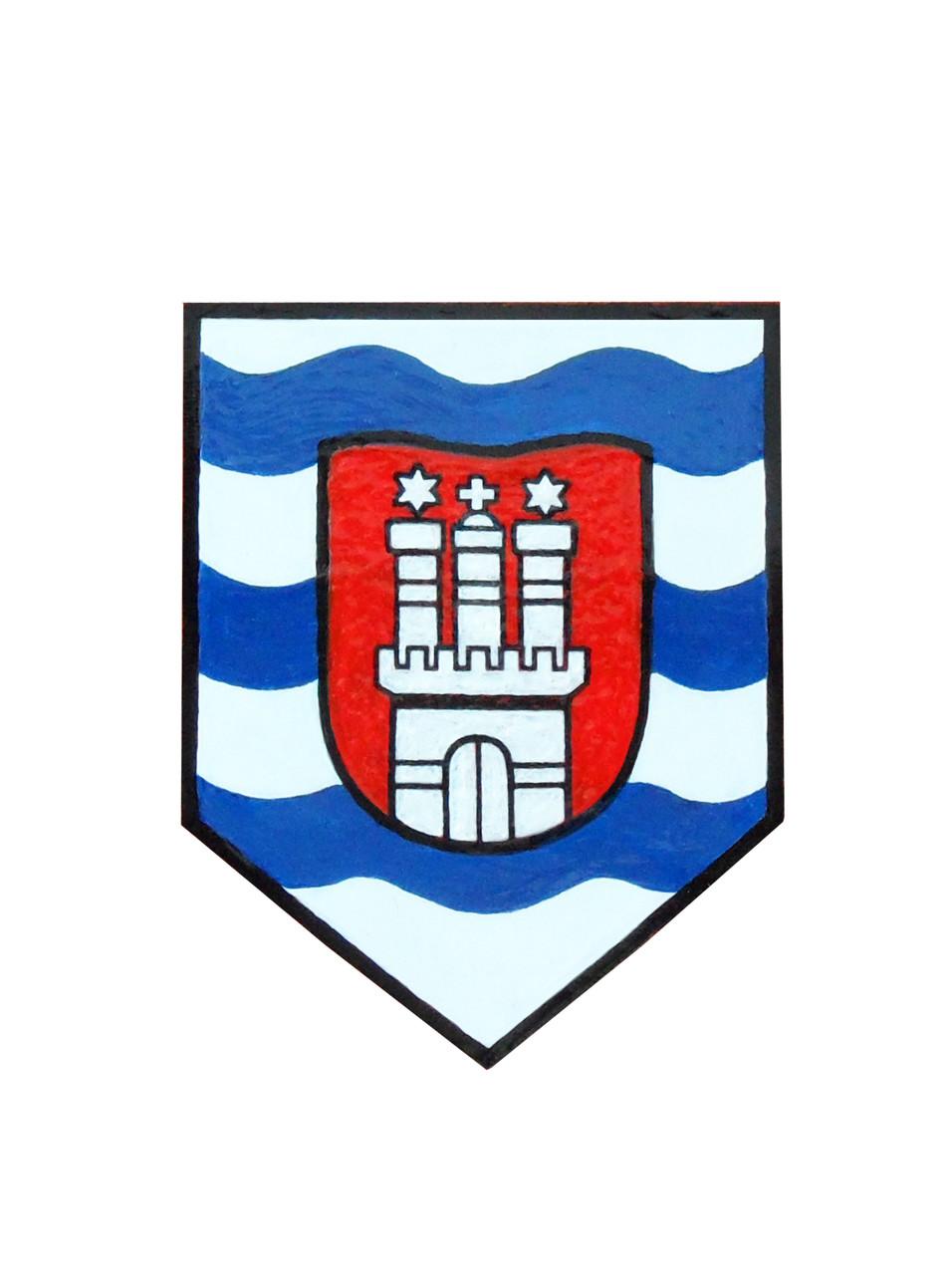Wappenschild  Hamburger Ruderinnen, Acryl auf Holz
