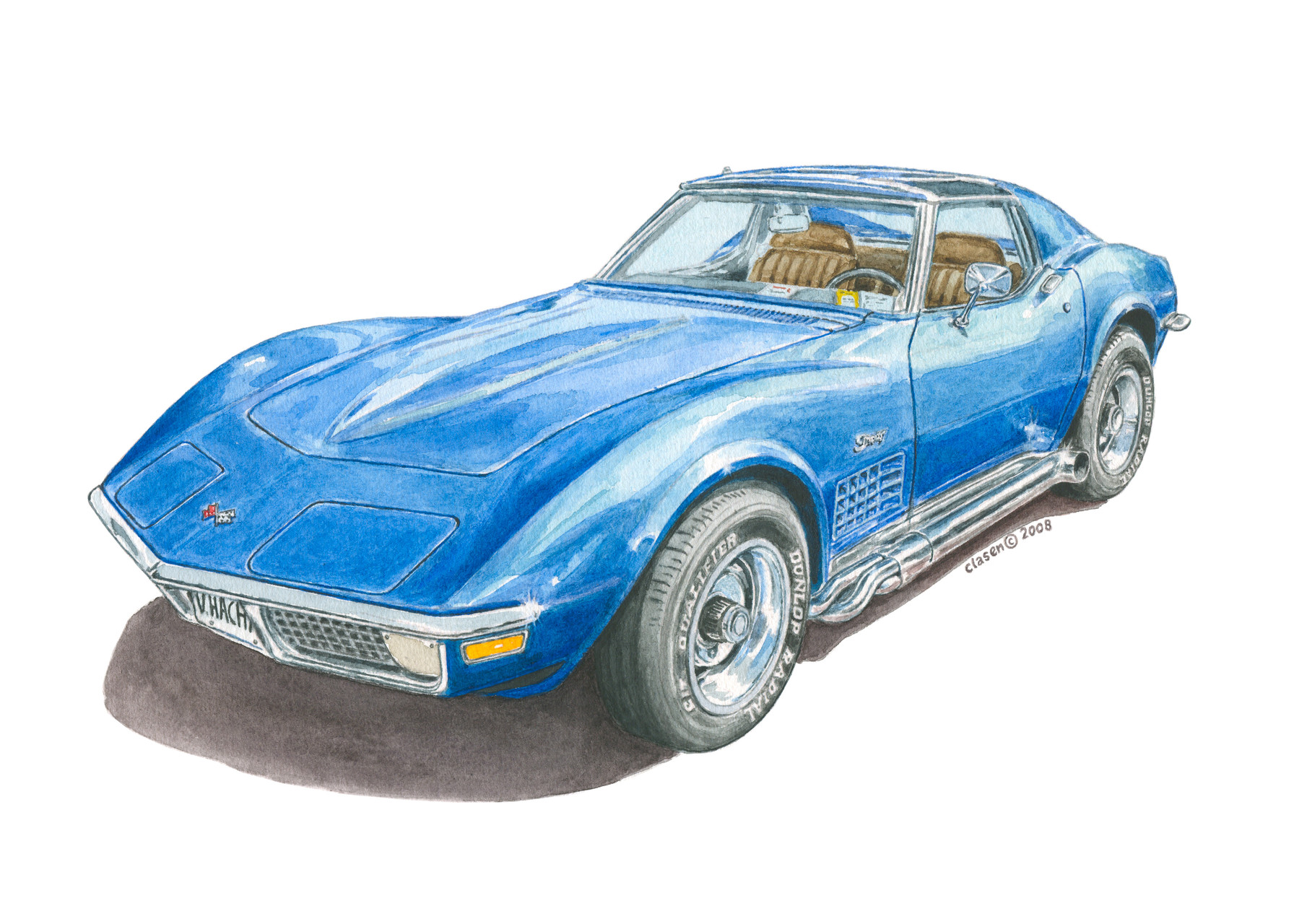 Corvette, Aquarell auf Papier, 2008