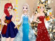 Игра одевалка Новогодняя вечеринка принцесс Диснея