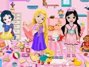 Игра уборка в детской комнате с малышками принцессами Диснея