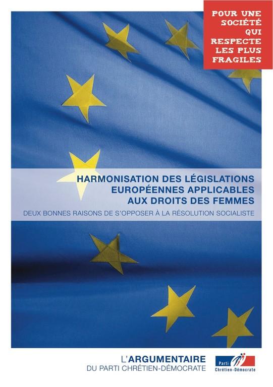 Argumentaire 8 - Europe - Harmonisation des législations européennes applicables aux droits des femmes