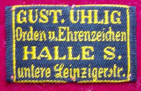 Stoffetikett Gustav Uhlig Halle/S.