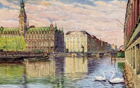 Zeitgenössische Postkarte (Künstlerpostkarte)  d. Reichsbankgebäudes Hamburg am Alten Wall; heute Geschäftshaus