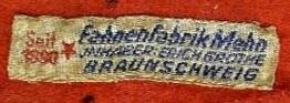 Stoffetikett Fahnenfabrik Braunschweig