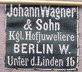 Stoffetikett Joh. Wagner & Sohn Berlin