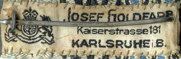 Stoffetikett Josef Goldfarb Karlsruhe