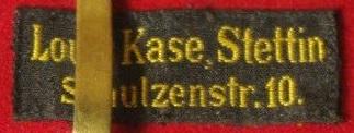 Stoffetikett Louis Kase, Stettin, früh um ca. 1900