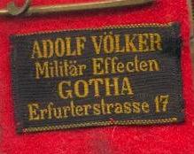Stoffetikett Adolf Völker Gotha