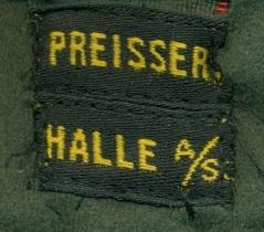 Stoffetikett Preisser Halle/S.
